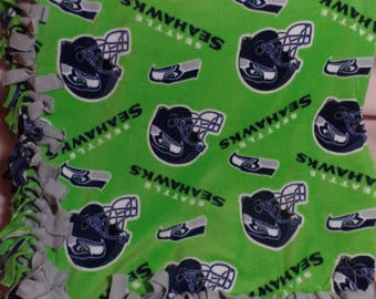 "Seattle Seahawks Fleece Quilt Blanket Throw  Tied 60"" x 54"""
