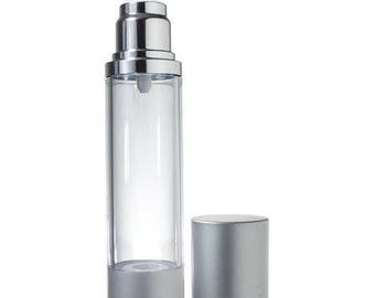 Airless Pump Refillable Bottle Silver Matte - 1.7 oz***FREE SHIPPING***