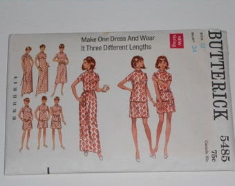 Vintage 60s Slim Straight One Piece Dress or Evening Maxi Gown In Different Lengths Sewing Pattern Butterick 5485 Size 12 Bust 34