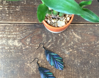 Feather Earrings - Upcycled Bike Tire Tube