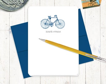 personalized stationery set - VINTAGE BOYS BICYCLE - set of 8 folded cards - men's bike - stationary - boys bike - masculine notecards