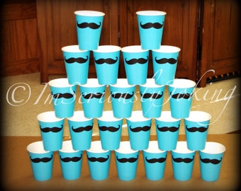 24 Mustache Paper Party Cups-Mustache Cups-Little Man Party-Baby shower-The Handlebar-AQUA cups-Blue Party Cups-Mustache Theme-Gender reveal