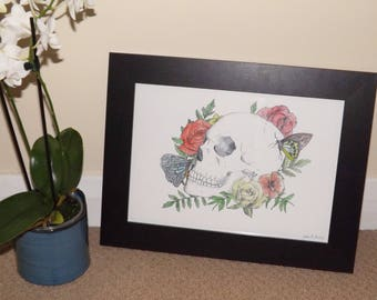 Skull with Roses and Butterflies -  ART PRINT (Biro and Watercolour)