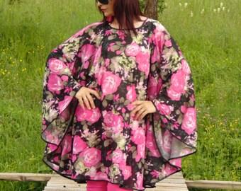 Floral tulle tunic /Long tunic/Rose print oversize tunic/Maxi size Plus size tunic/Summer tunic/Party tunic/Elegant tunic/Loose tunic top/