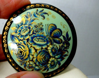 Russian Lacquer Pin, Handpainted Blue w Gold Flower Garden & Butterfly On Black Round Wood Brooch, Signed in Cyrillic