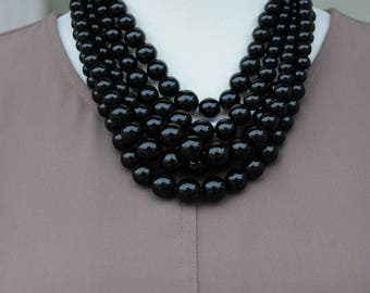 SALE - Bib Necklace, Layered Necklace, Black Necklace, multi-strand necklace, Gift for her, all occasion necklace, Birthday gift