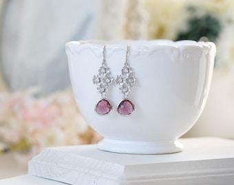 Plum Wedding Earrings Silver Cubic Zirconia Flower Dangle Earrings Bridal Earrings Purple Teardrop Crystal Dangle Earrings Bridesmaid Gift
