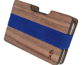 Sharks Slim Minimalist Wooden Wallet. Handmade And Laser Engraved. Made in the USA.
