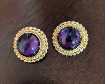 Vintage gold and purple clip on earrings