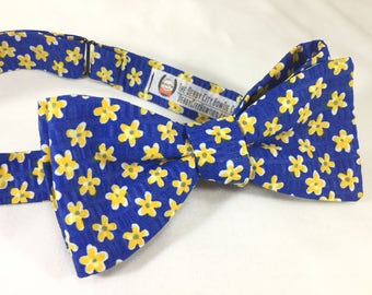Royal Blue and Yellow Flower Bow Tie, Flower Bow Tie, Blue Bow Tie, Self Tie Bow Tie, Freestyle Bow Tie, Spring Bow Tie, Derby Bow Tie