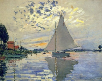 """Sailboat At Le Petit Gennevilliers by Claude Monet, 8""""x10.5"""", Giclee Canvas Print"""
