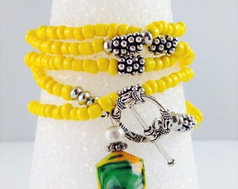 Yellow Seed Bead Wrap Bracelet with Silver Tone Spacers and Multi Color Gemstone