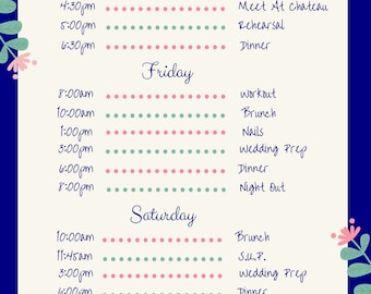 Wedding Itinerary 5x7 Template