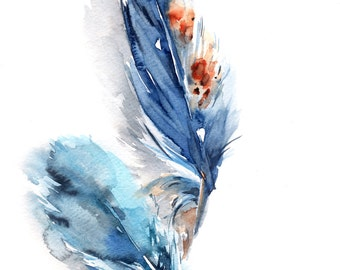 Blue feathers original watercolor painting, feathers art, modern feathers watercolour art painting