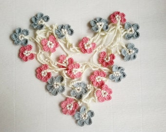 Crochet flower necklace Lariat scarf garland Flower scarf Floral scarf women Crochet Lariat scarf Crochet Leaf scarf  Neck accessories