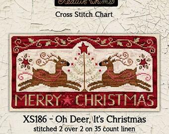 Reindeer | Christmas | Cross Stitch Chart | Downloadable PDF | EPattern | Needlework | DIY | Crafts | Oh Deer, It's Christmas | XS186