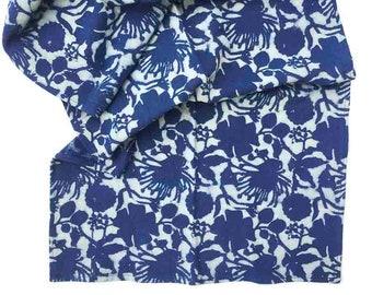 Table Runner Floral Indigo Blue Runner Indigo Block Print Handmade Table Linens Organic Cotton Housewarming Gift, shabby chic linens - Radha