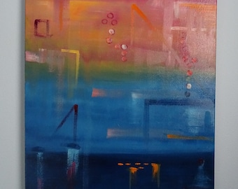 """Light Frequency Abstract Oil Painting in blue, orange and pink 24"""" x 18"""""""