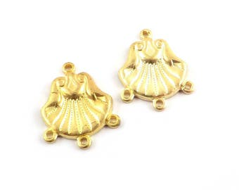6 Connector seashell 4 eyelet 13mm x 17mm raw brass stamping. V-115