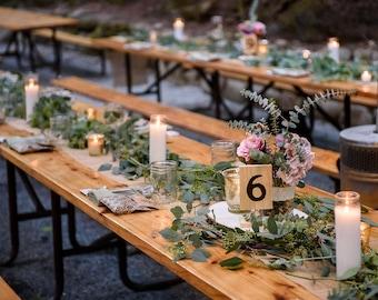 Handmade Wood-burned wedding table numbers