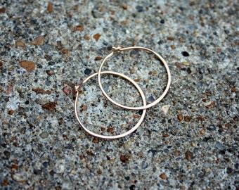 Bronze Hoop Earrings - Bronze Hoops - 1 Inch Medium Hoops - 1 Pair Of Hoops - Bronze Earrings - Classic Hoops - Simple Hoops - Minimalist
