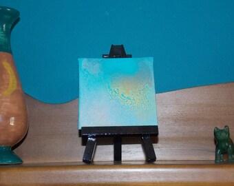 3x3 inch Howlite #2 Mini Crystal Healing Energy Art Original Abstract Spray Paint Spiritual Painting On Canvas Panel 7.62 x 7.62 cm
