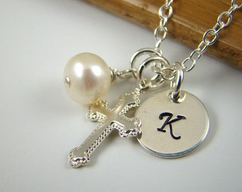 Girl Baptism Gift Cross Initial Necklace, Cross Charm R002