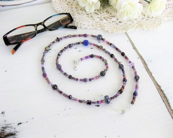 Purple Eyeglass Chain, Eyeglass Chains, Glasses Chain, Eyeglass Holder, Beaded Eyeglass Chain, Eyeglasses Chain, Eyeglass Necklace,  EH008