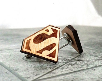 Superman Cufflinks Wooden Cufflinks Groomsmen Gift ideas Groomsmen cufflinks Superman gift Valentines gift for him Wedding Gifts for men