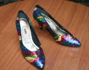 SEQUIN shoes / BEVERLY FELDMAN / women's shoes / Dècollettè paiettes / elegant shoes / multicolored shoes / vintage shoes 80s /