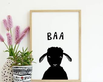 Sheep Print, Farm Animal Wall Art, Lamb Print, Baby Animal Prints, Printable baby animals, Wall Art Nursery, Black and White Printable Art