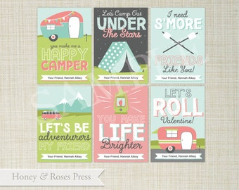 Camping Valentine's Day Cards . Camper Valentines . Kids Valentines Cards . Printable Valentines . Instant Download