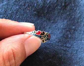 Silver and enamel ring