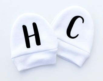 Custom Initials Baby Mittens, Infant Mitts, Baby Mitts, Newborn Mittens, Baby Name Gifts, No Scratch Mittens, Baby Gloves, New Baby Gifts