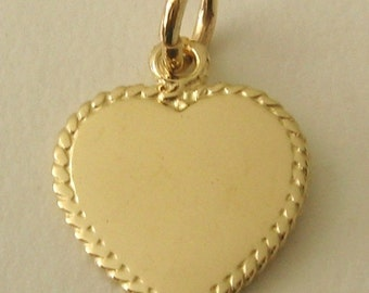 Genuine SOLID 9K 9ct YELLOW GOLD 3D Love Heart Valentine charm/pendant