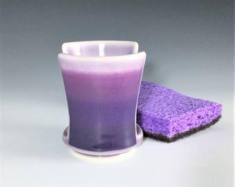 Purple Sponge Holder, Ombré Sponge Holder, Porcelain Sponge Holder, Kitcken Décor, Ceramic Sponge Holder, Wheel Thrown Pottery Sponge Holder