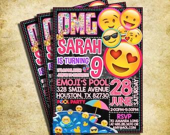 Emoji Pool Party Invitation - Emoji Icons Birthday Party Chalkboard Invite - Pool Party - Printable And Digital File - YOU PRINT