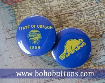 Oregon State Flag Set Pinback Button, Magnet, Badge, Oregon Button, Oregon gift, Portland Pin, Souvenir Gift, Traveler Beaver Flag Keychain