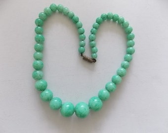 Vintage Peking Glass Stone Graduated Necklace -Reduced Price