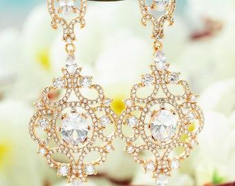 Gold bridal earrings Gold bridal chandelier earrings Bridal earrings  CZ earrings Bridal jewelry