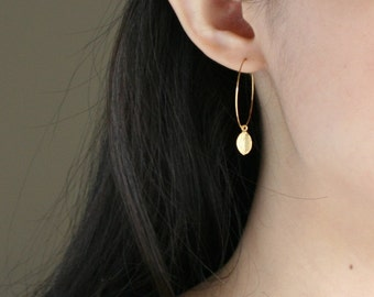 Gold leaf hoop earrings - small simple earrings, fall fashion, round circle earrings, birthday bridesmaid gift, mothers day gift, daughter