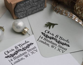 Christmas Address Garland Stamp