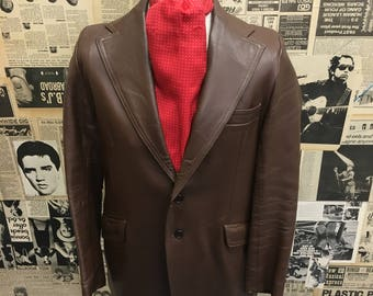 Original Vintage 1960's 1970's Denburry Leather Blazer Jacket Brown Size Small CHEAP Postage UK & Worldwide