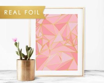 Pink Mosaic Foil Art Print 11x14, 8x10, 5x7