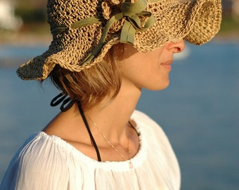 Reserved Listing Adjustable Crochet Summer Straw Sun Hat