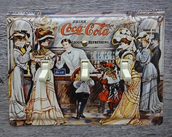 Triple Switch Plate Made From A Coke Coca Cola Fountain Tin For Old Fashioned Kitchen Decor TP-4009