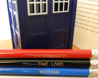 Set of FIVE Doctor Who Pencils