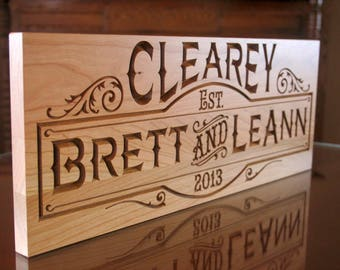Couples Name Sign, Anniversary Gift For Him, Carved Wooden Sign, Personalized Sign, Parents Anniversary, Benchmark Custom Signs, Cherry SB