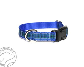 "Ancient Douglas Clan Tartan Small Dog Collar - Thin Dog Collar - 1/2"" (12mm) Wide - Blue Plaid - Choice of style and size"