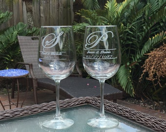 Personalized Wine Glass Set of 2, Wedding Gifts, Gifts for Mothers, 18.5 oz Wine Glasses